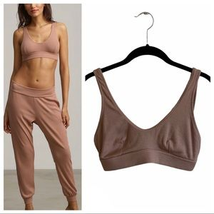 New Commando luxury rib soft bralette mushroom